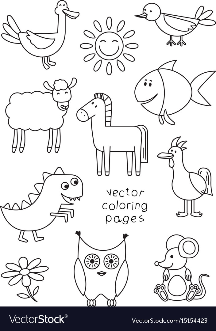 Cartoon Animals Coloring Book Royalty Free Vector Image