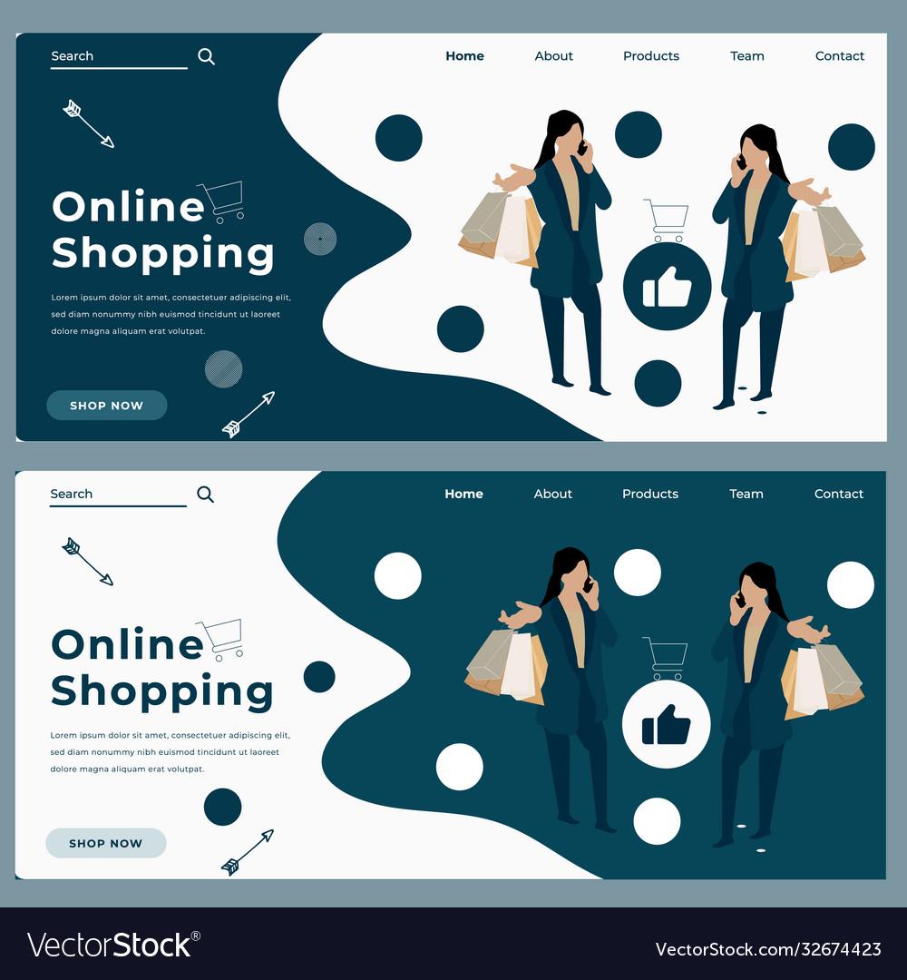 Cartoon trendy online shopping web banner