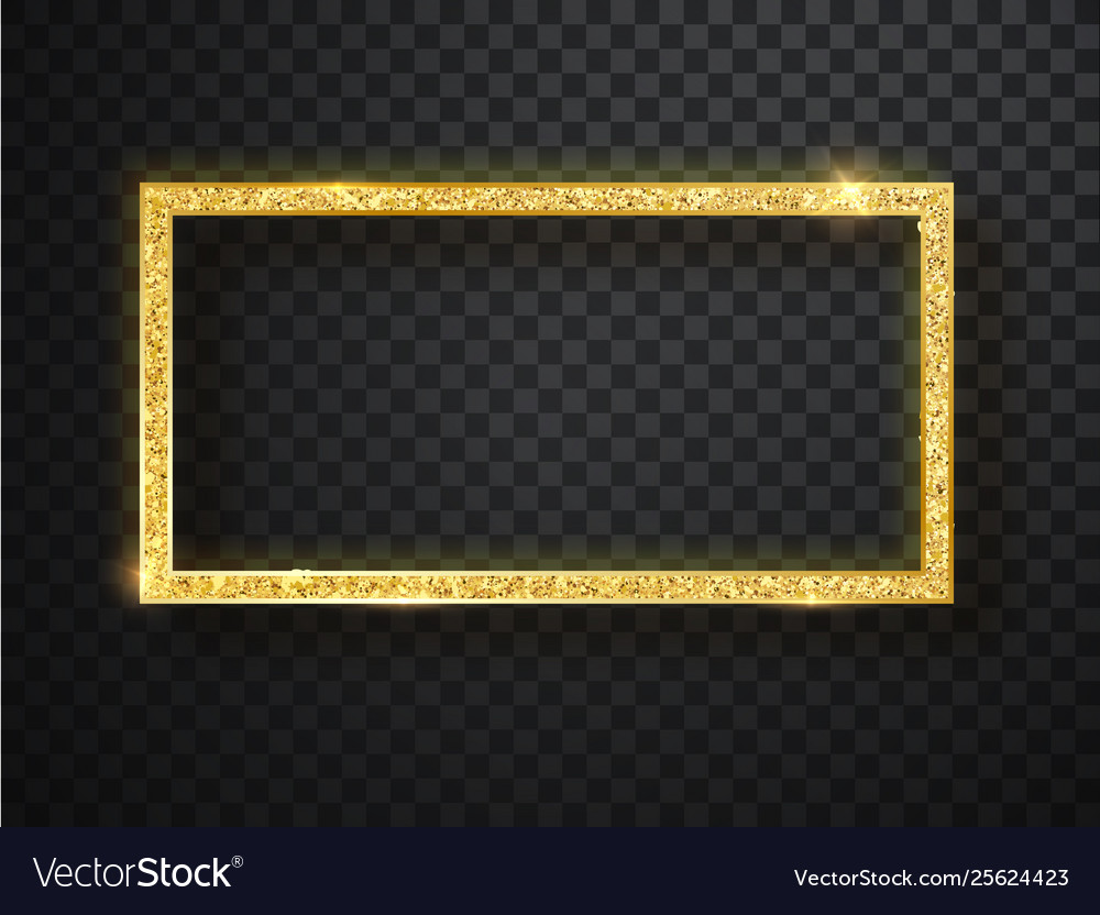 Gold shiny frame on a transparent background