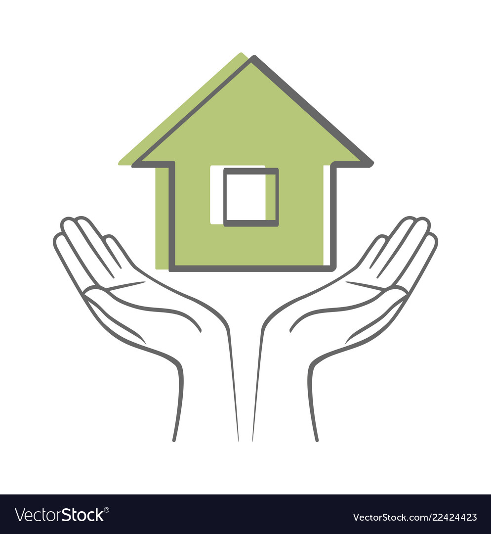 Hands holding house sketch icon isolated on white