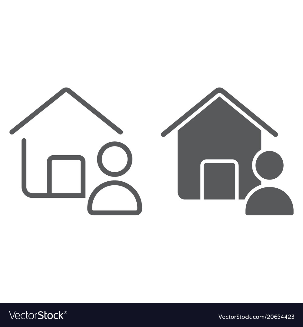 Real estate agent line and glyph icon