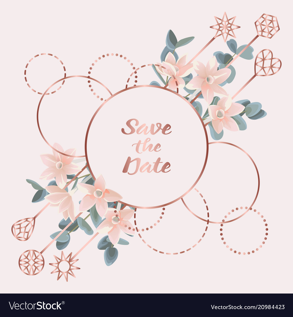 Save the date card with eucalyptus flowers and