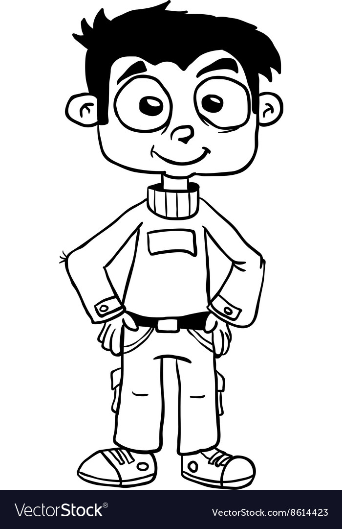 Simple black and white smiling boy standing vector image