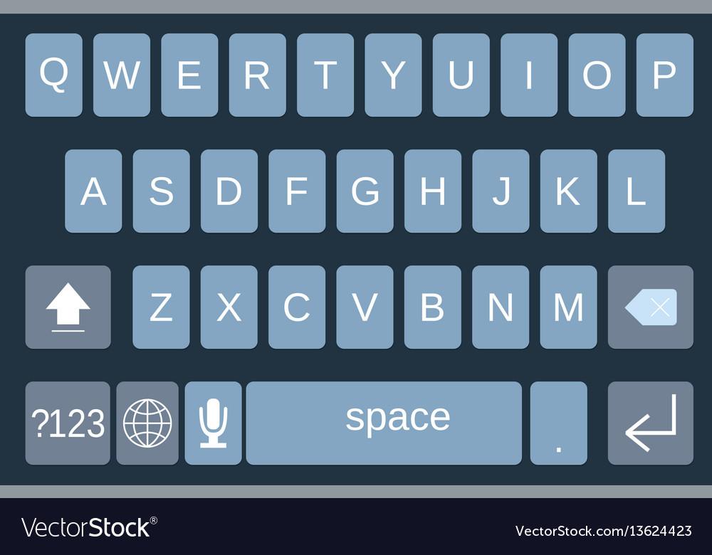 Smartphone keyboard alphabet buttons vector image