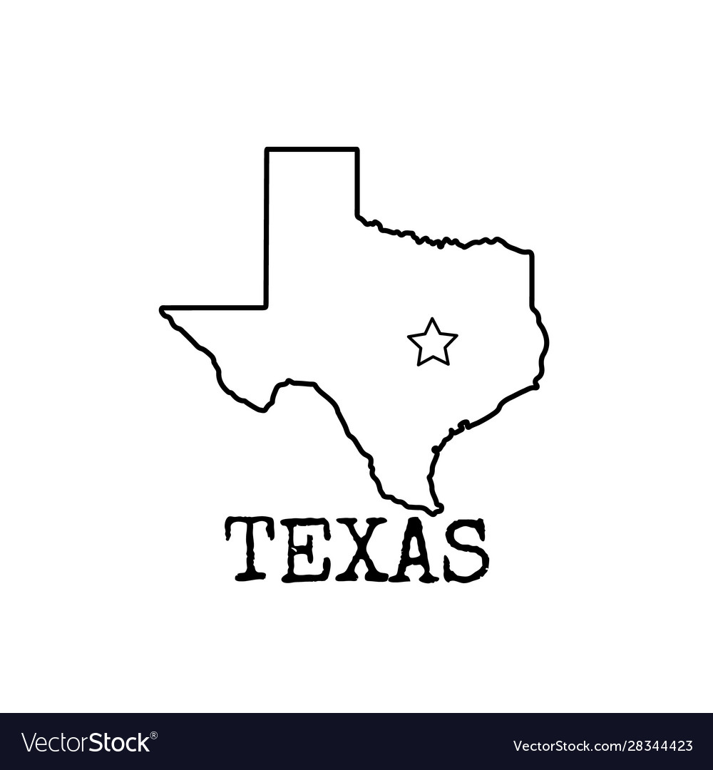 Texas Map Black And White Texas map shape icon black and white line drawing Vector Image