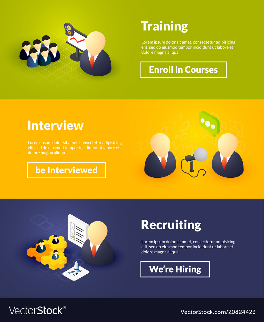 Training interview and recruiting banners of