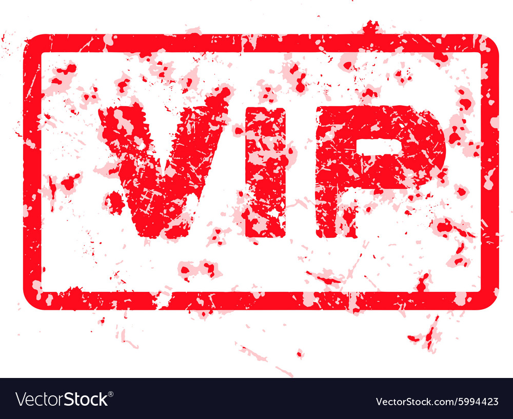 Word VIP red grunge stamp isolated