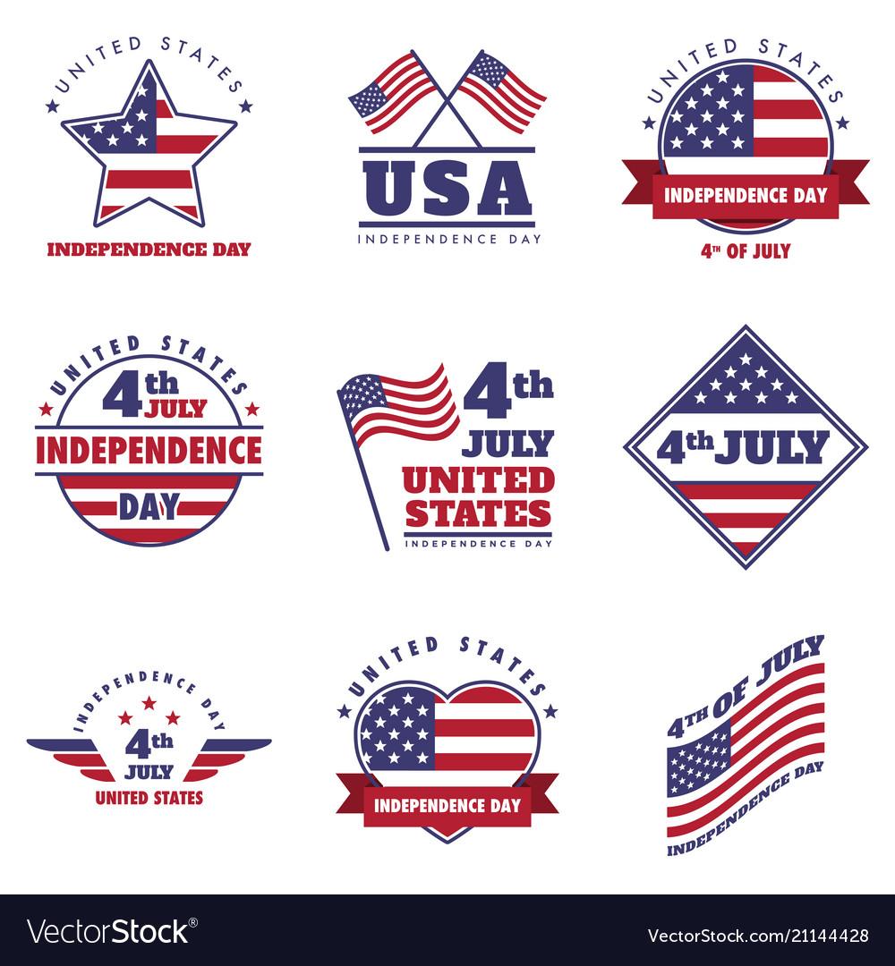 4th july united states independence day emblem set