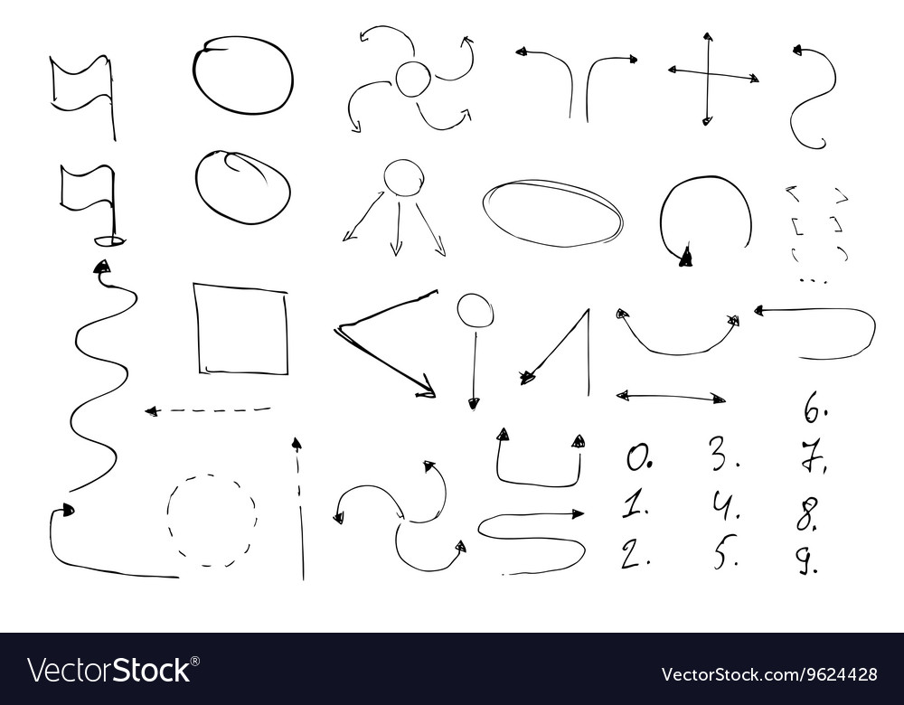Arrows circles and abstract doodle writing design