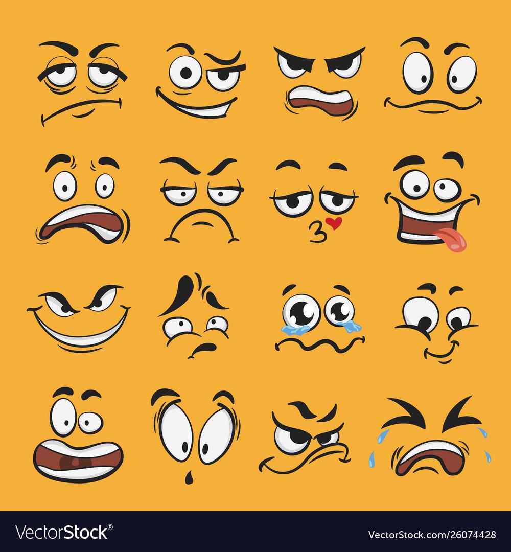 Cartoon emotion set different cute face