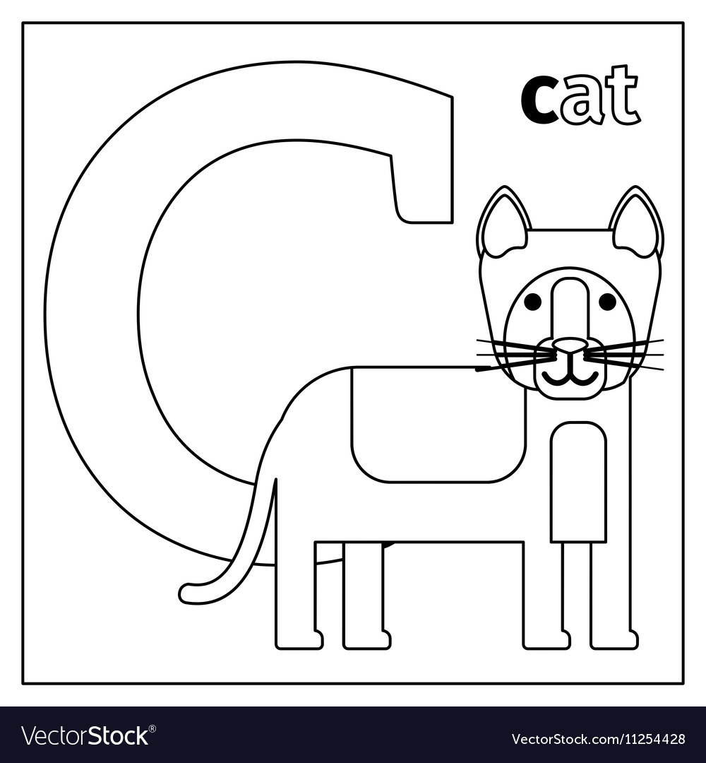 Cat letter C coloring page vector image