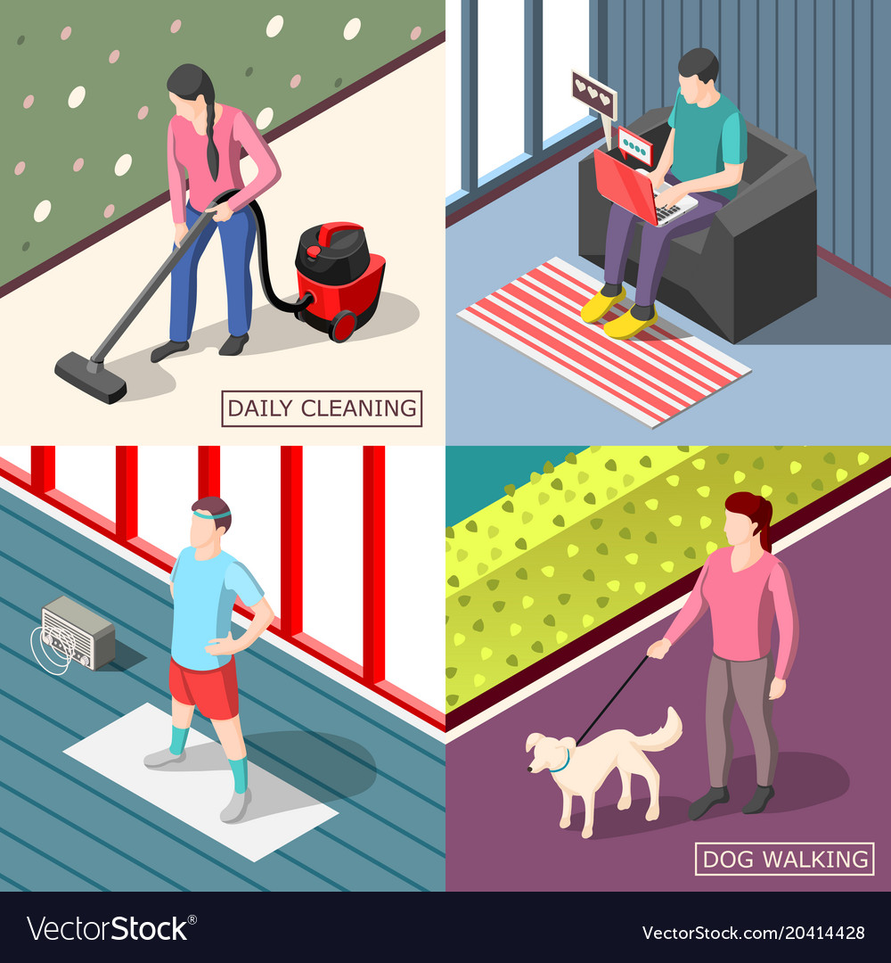 Daily routine 2x2 isometric design concept