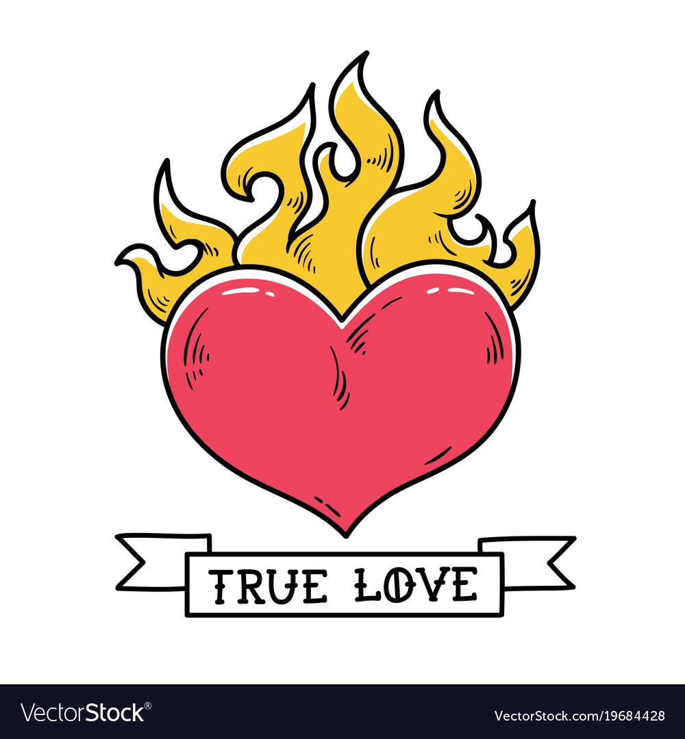 Flaming Heart Tattoo True Love Red Burning Heart Vector Image