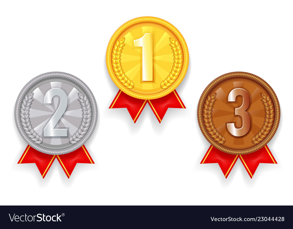 Gold silver bronze award sport 1st 2nd 3rd place Vector Image