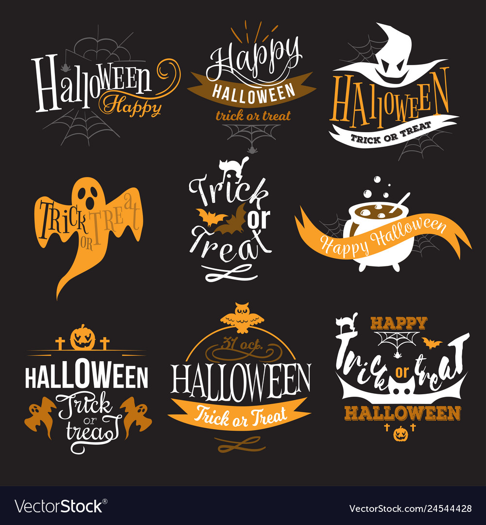 Large logo set happy halloween eerie designs