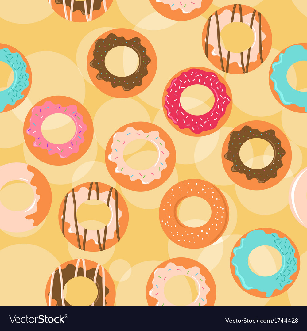Seamless donuts background vector image