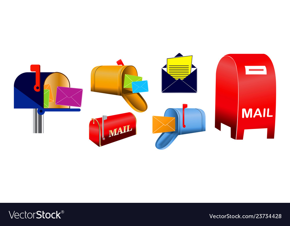 Set classic mailbox and envelope