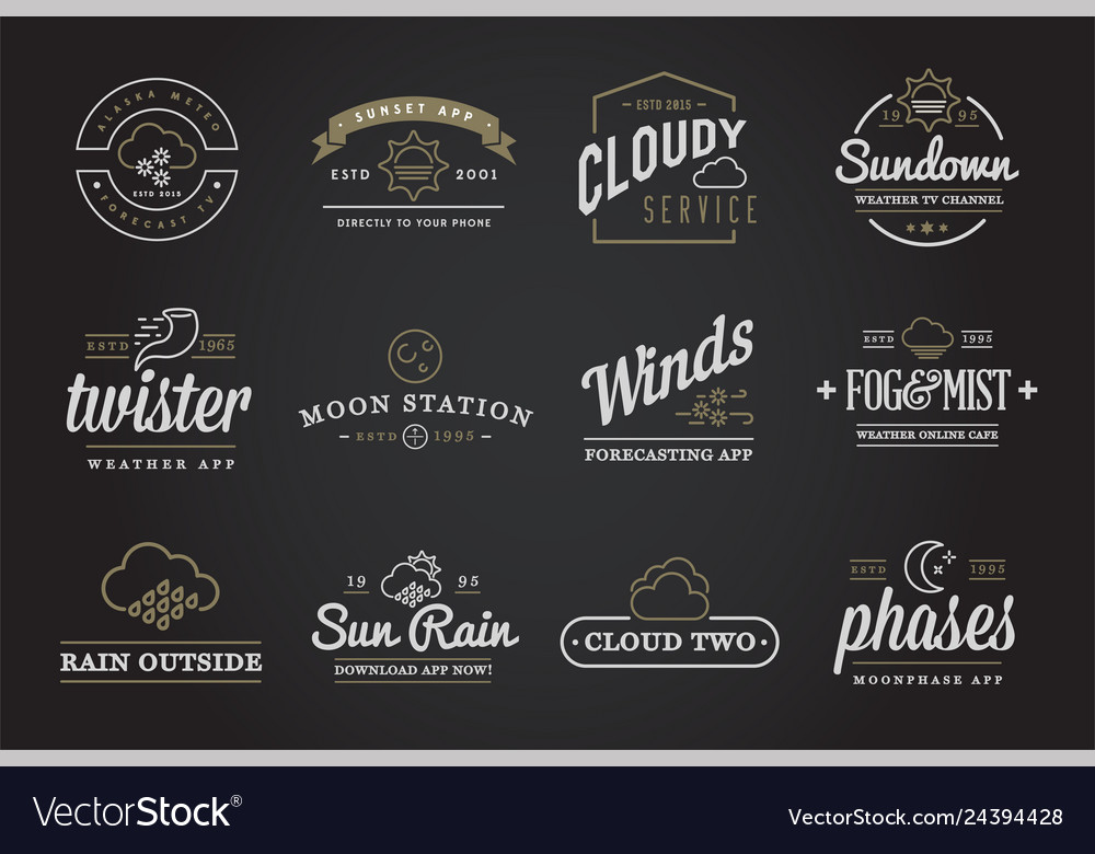 Set of weather icons and logotypes of business