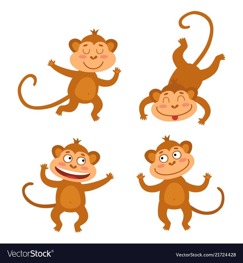 Set with funny monkeys cute little monkeys