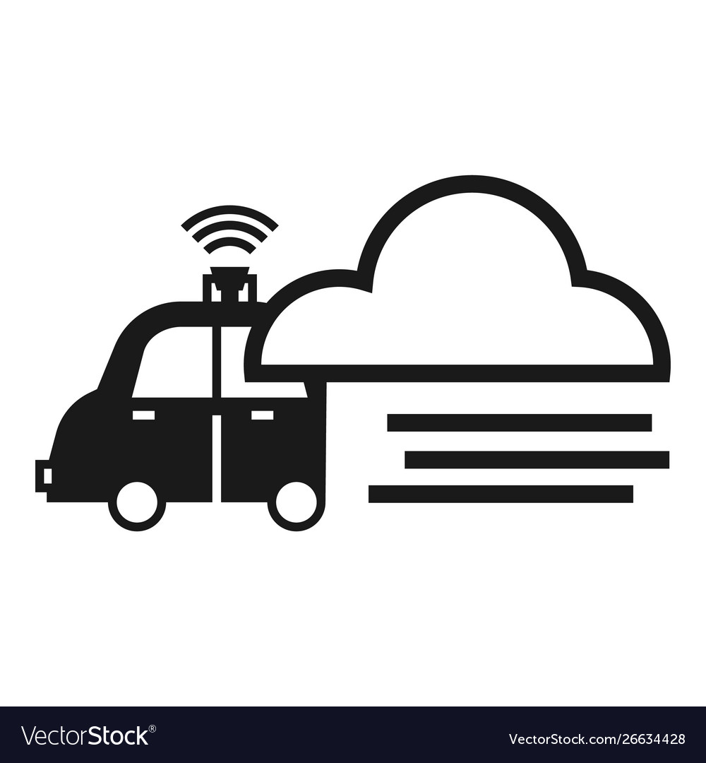 Smart car data cloud icon simple style
