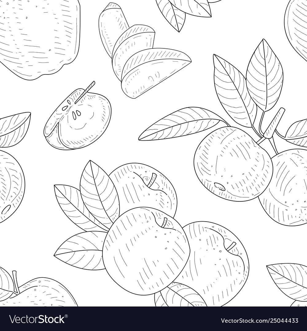 Apple seamless pattern monochrome hand drawn