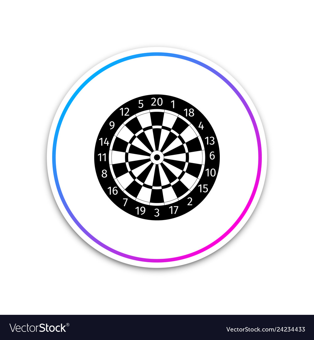 Darts board with twenty black and white sectors