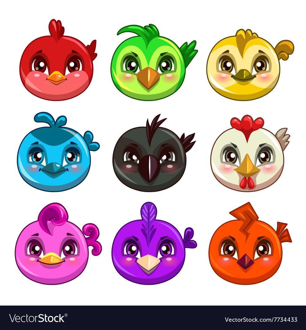Funny cartoon colorful round birds