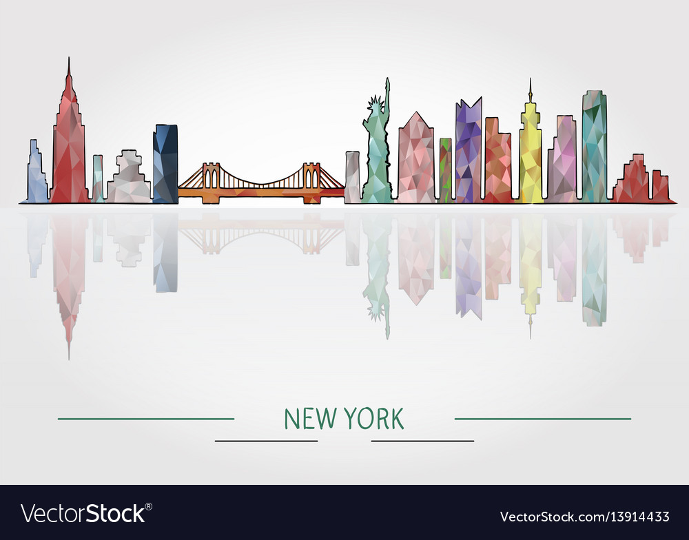 New york skyline detailed silhouette