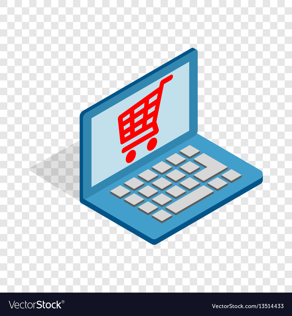 Online shopping in laptop isometric icon