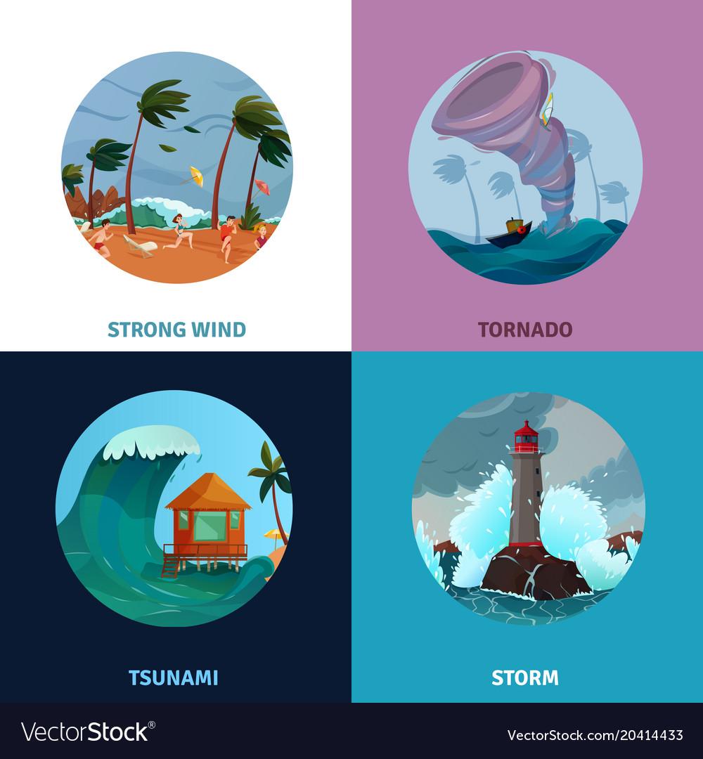 Seaside landscapes concept icons set