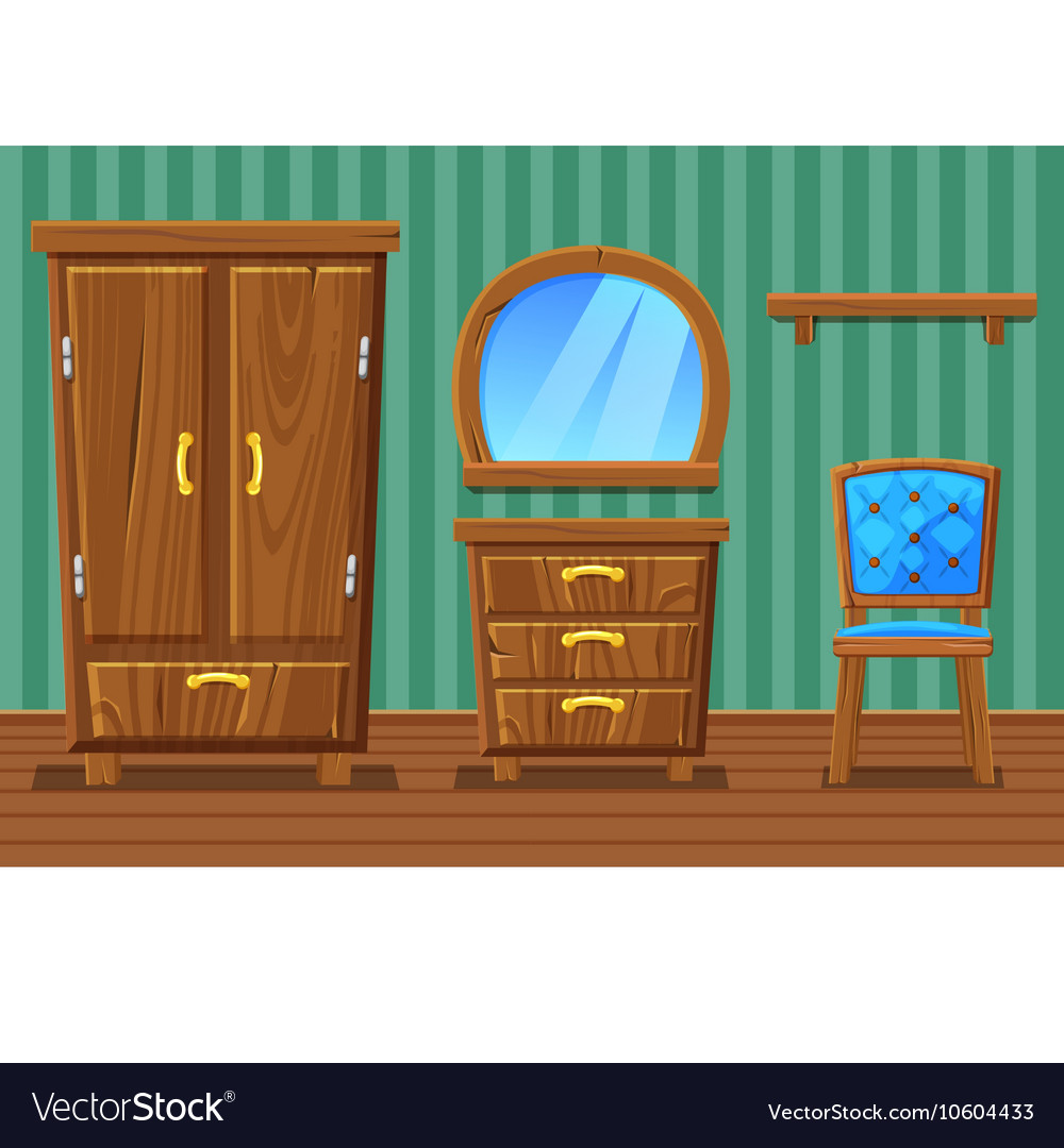Set Cartoon Funny Wooden Furniture Living Room Vector Image