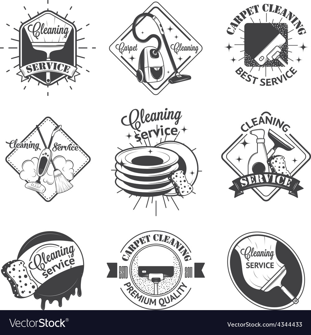 Set of vintage logos labels and badges cleaning