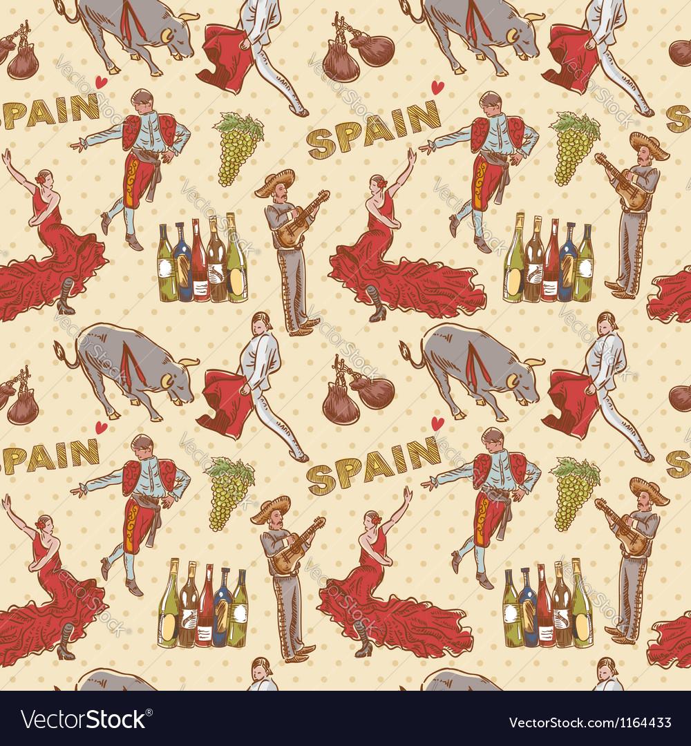 Spain seamless repeating pattern