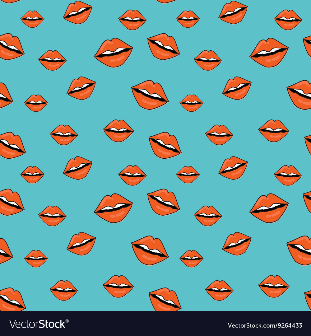 Sweet kiss seamless pattern Lips of woman with red