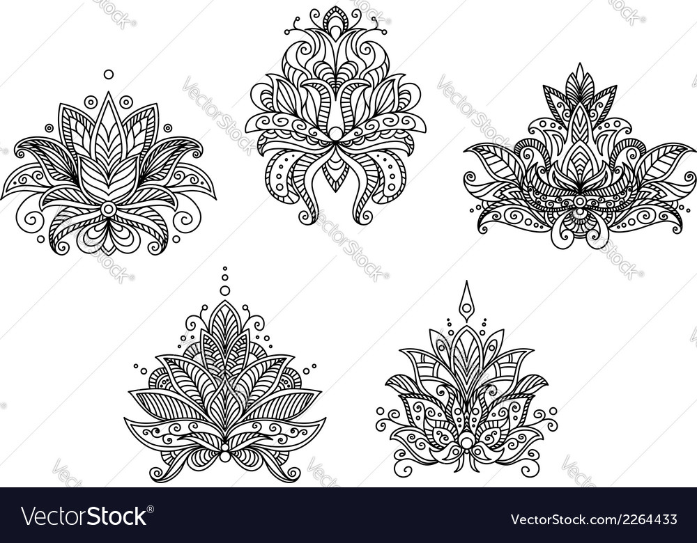 Turkish indian and persian paisley floral motifs