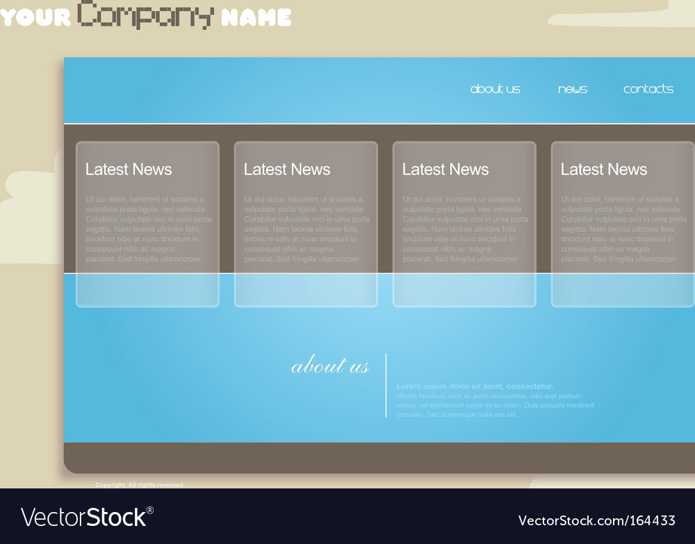 Website template with clouds vector