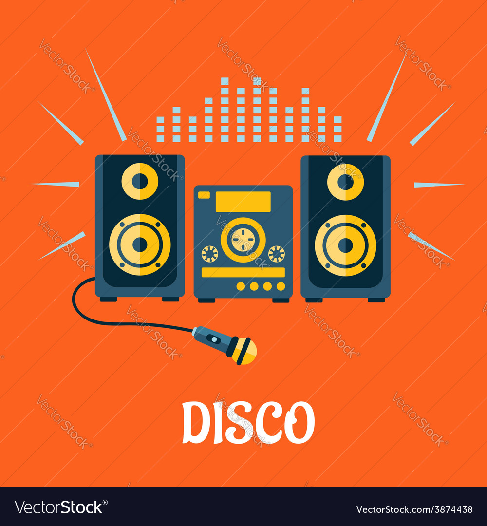 Audio system with microphone in flat style vector image