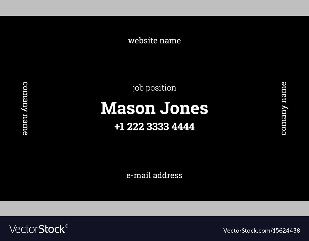 Black business card template strict clean style Vector Image