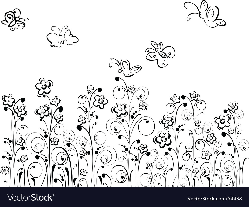 Butterfly's and flowers vector image