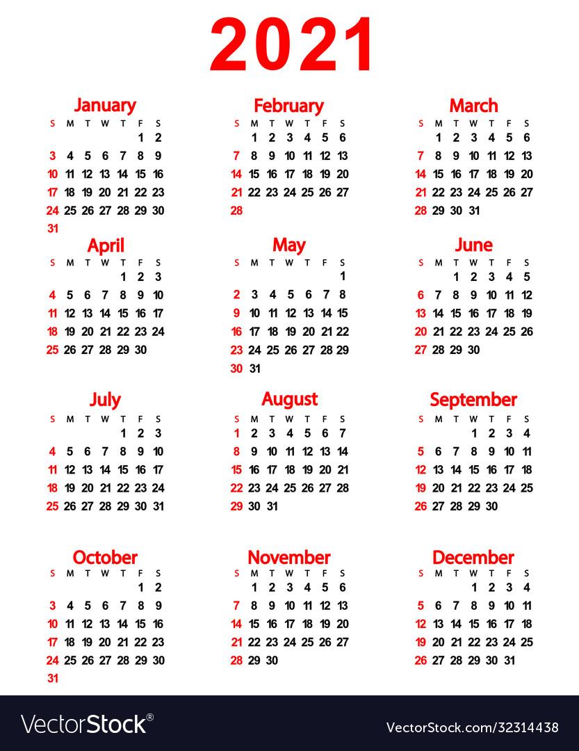 calendar new year 2021 royalty free vector image vectorstock