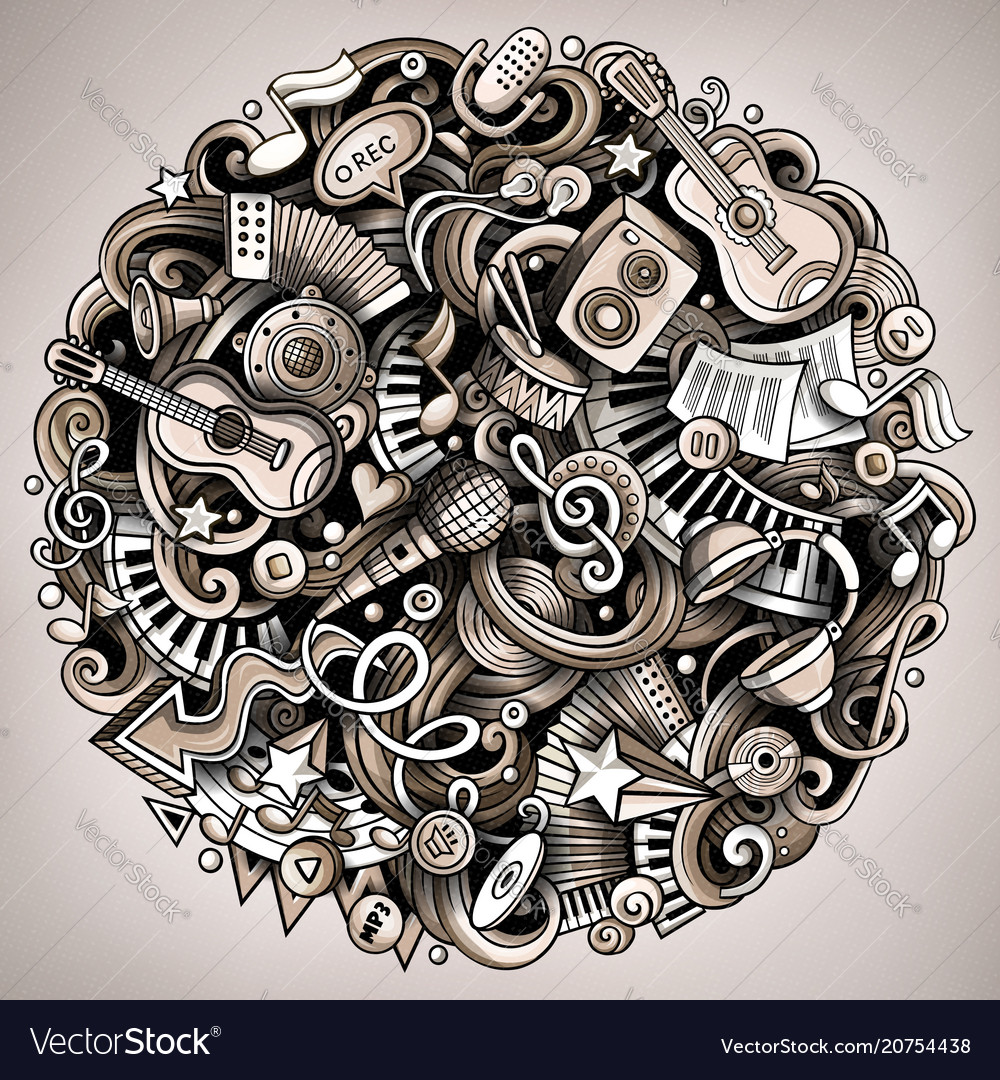 Cartoon doodles music vector image