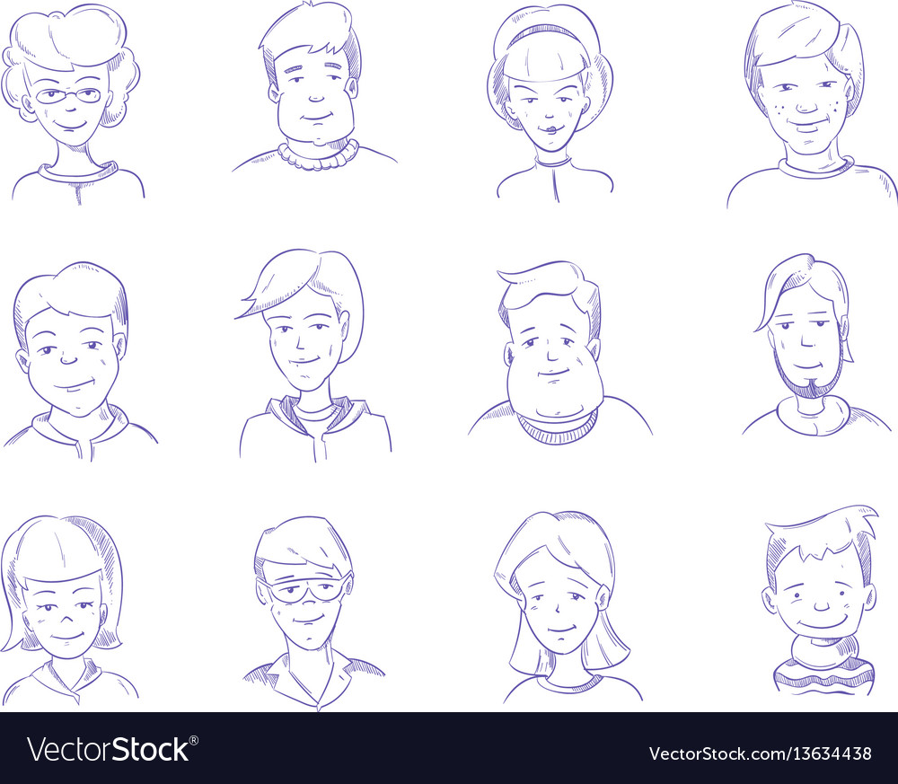 Doodle human heads hand drawn adult portraits