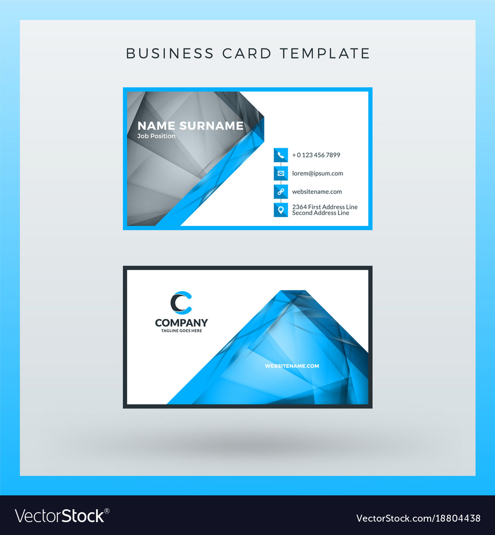 double sided horizontal business card template vector image