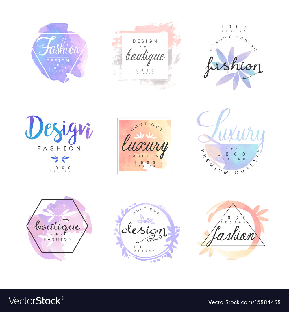 Fashion luxury boutique logo design set colorful vector image