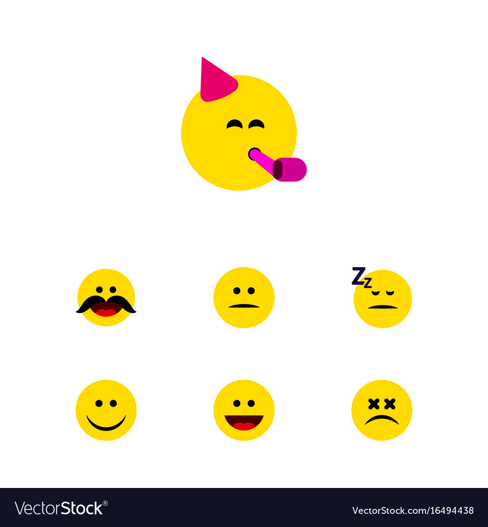 Flat icon emoji set of party time emoticon asleep