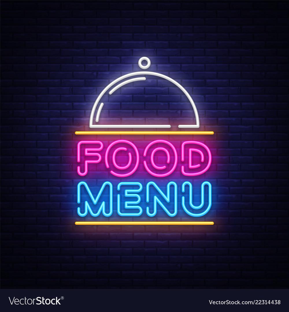 Food menu neon sign restaurant menu neon