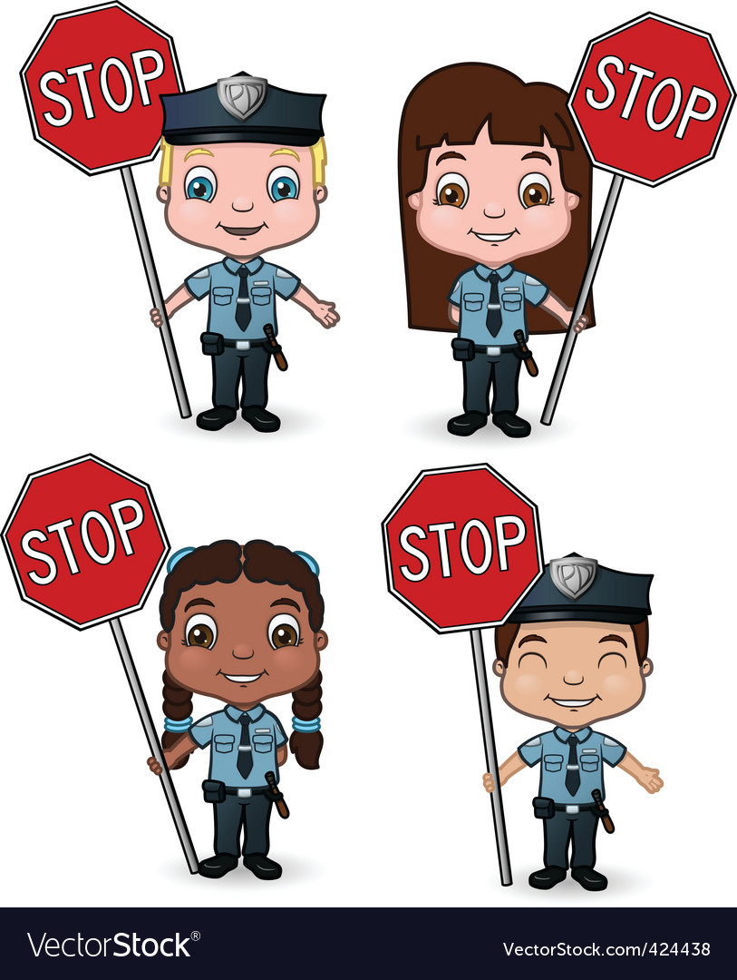 Stop sign policeman with. Kid cops signs