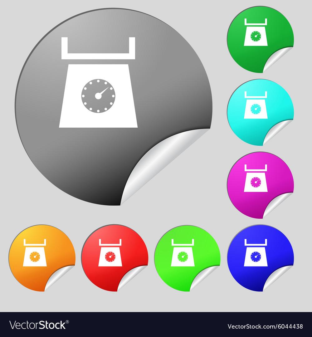 Kitchen scales icon sign Set of eight multi