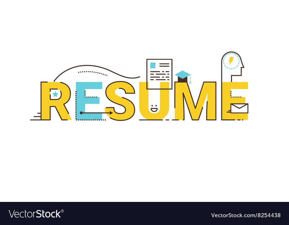 Resume word lettering design