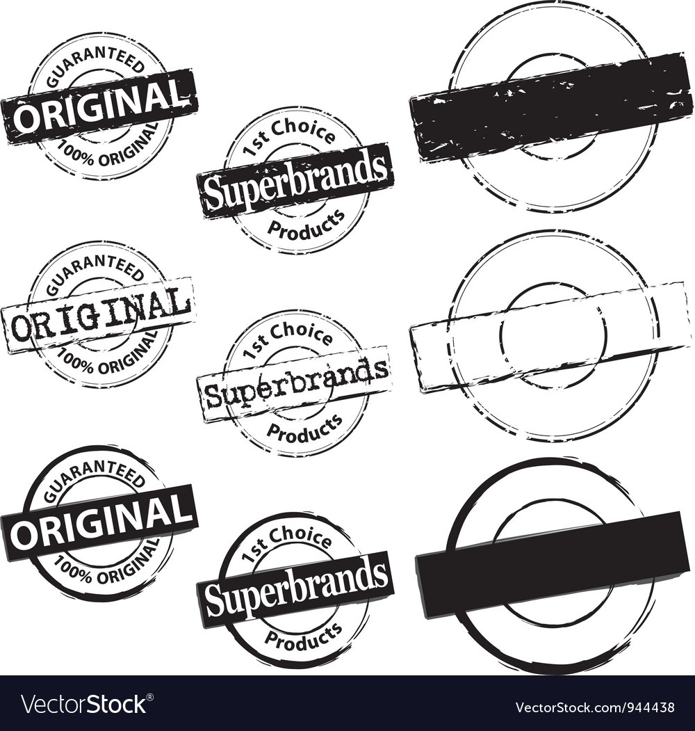 Rubber Stamp Original and Superbrand vector image